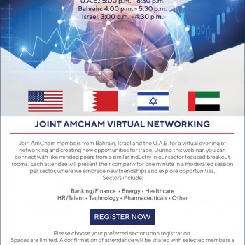 UAE-Bahrain-Israel American Chambers of Commerce Networking Event Nov. 9th