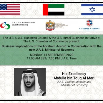A  discussion with the U.A.E. Minister of Economy H.E.  Abdulla bin Touq Al Mari